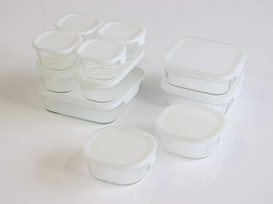 レーダーすきなかなかiwaki(イワキ) 耐熱 ガラス 保存容器 角型 パック&レンジ 11点セット ホワイト 200ml × 4個 / 450ml × 2個 / 500ml × 2個 / 800ml × 2個 / 1200ml × 1個 PS-PRN-11W