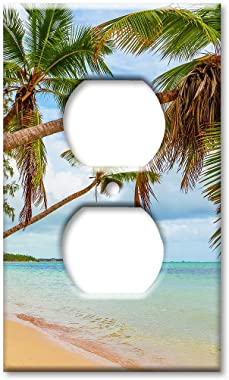 Art Plates Duplex Outlet Cover Wall Plate - Beach Palm Trees Over the Water