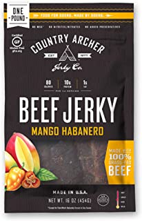 Mango Habanero Beef Jerky by Country Archer, 100% Grass-Fed, Gluten Free, 16 Ounce