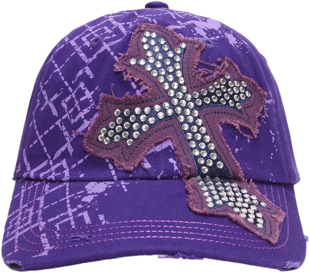 TopHeadwear Beaded Cross Distressed Adjustable Baseball Cap