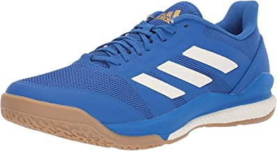 adidas Men's Stabil Bounce Volleyball Shoe, Blue/Off White/Gold Metallic, 7 M US
