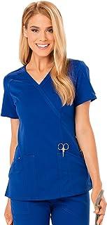 كنزة Code Happy Womens Code Happy Women's Cloud Nine Mock Wrap Top Medical Scrubs Shirt