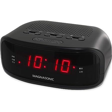Magnasonic Digital AM/FM Clock Radio with Battery Backup, Dual Alarm, Sleep & Snooze Functions, Display Dimming Option (EAAC200)