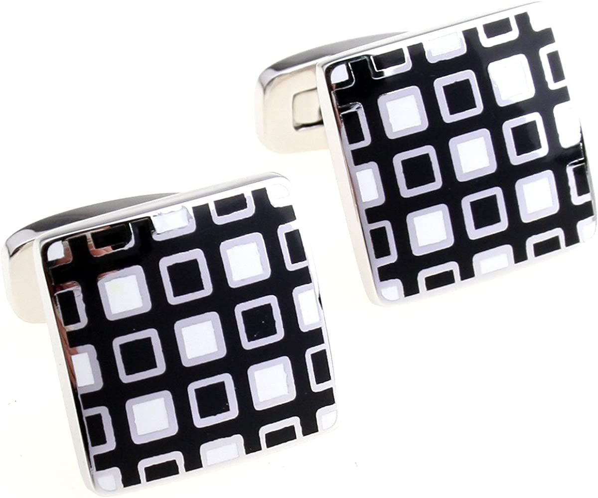 Cuff-Daddy Black White Outlet SALE Enamel Low price with Presentation Square Cufflinks