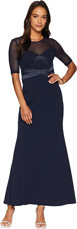 Petite Short Sleeve Long Knit Crepe Gown with Contrasting Bodice Detail