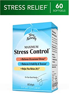 Terry Naturally Maximum Stress Control - 60 Softgels - Occasional Stress Relief Supplement, Reduces Irritability, Tension & Helps You Relax - Non-GMO, Gluten-Free - 60 Servings