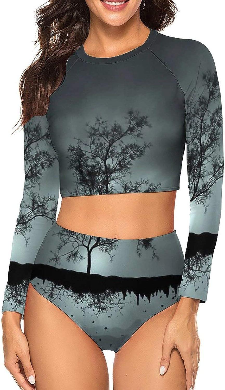 Tvsuh-u Womens Bathing Suit 2 PCS Trees Floatings Long Sleeve Rash Guard Swimsuits UV Protection Athletic Shirt