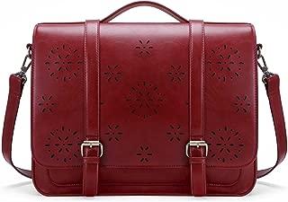 ECOSUSI Women Briefcase PU Leather Laptop Backpack Shoulder Computer Bag Messenger Satchel fit 14 inch Laptop, Red