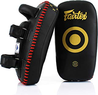 Fairtex KPLC5 Muay Thai Kickboxing Lightweight Thai Pads - Black, Black/Gold