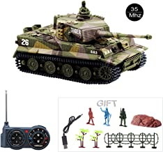 Fun-Here Mini RC Tank with USB Charger Cable Remote Control Panzer Tank 1:72 German Tiger I with Sound, Rotating Turret and Recoil Action When Cannon Artillery Shoots 35MHz(Khaki)