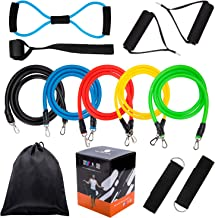 Fitness Resistance Band Set,5Pcs Stackable Latex Workout Pull Bands,8 Type Latex Resistance Tube,Ankle Straps,Door Anchor,Handles and Carrying Case-For Resistance Training,Home Workouts,Yoga,Pilates