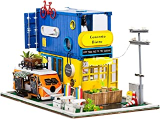 iiE Create Doll House Miniature DIY Wooden Dollhouse Furniture Bistro House Christmas Decoration Toys for Children Birthday Gift
