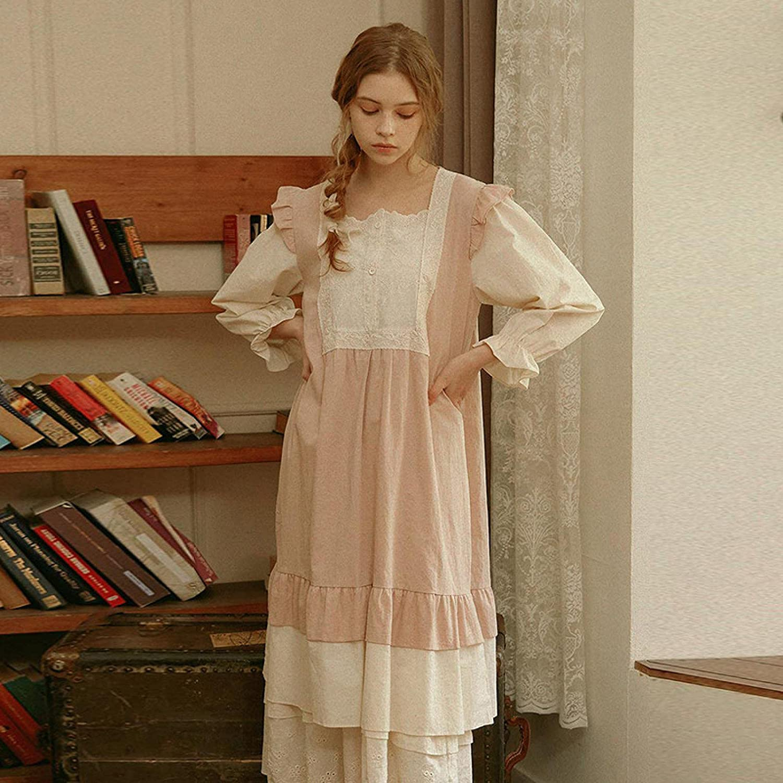 STJDM Nightgown Women Vintage Lace Long Night Sleepwear Ni Ranking TOP13 Dress Over item handling ☆