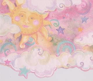 Smiling Sun Moon Pink Clouds Stars Kids Wallpaper Border Retro Design, Roll 15' x 10