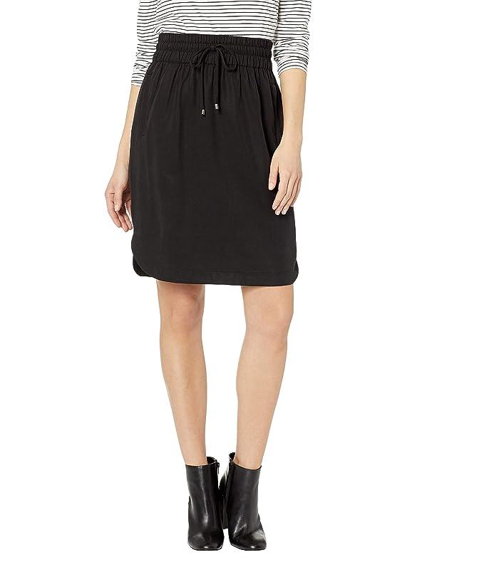 Three Dots All Weather Twill Shirt Tail Hem Skirt (Black) Women