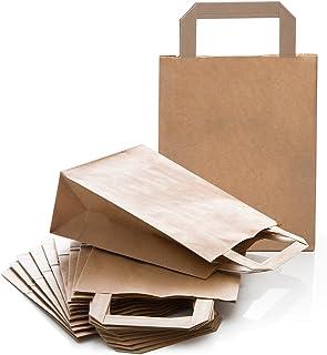 Logbuch-Verlag 10 kleine Kraftpapier Papiertasche Henkel Griff braun Geschenktüte Geschenkbeutel Verpackung 18 x 8 x 22 cm...