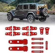 Tailgate Door Handle Cover Door Hinge Cover Hood Hinge Cover Spare Tire Hinge Cover for 2018 Jeep Wrangler JL Accessories 4 Door (Red)