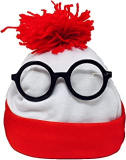 Toy Goodkids Winter Beanie Hat - Red White Waldo Hat and Glasses Costume for Men and Women