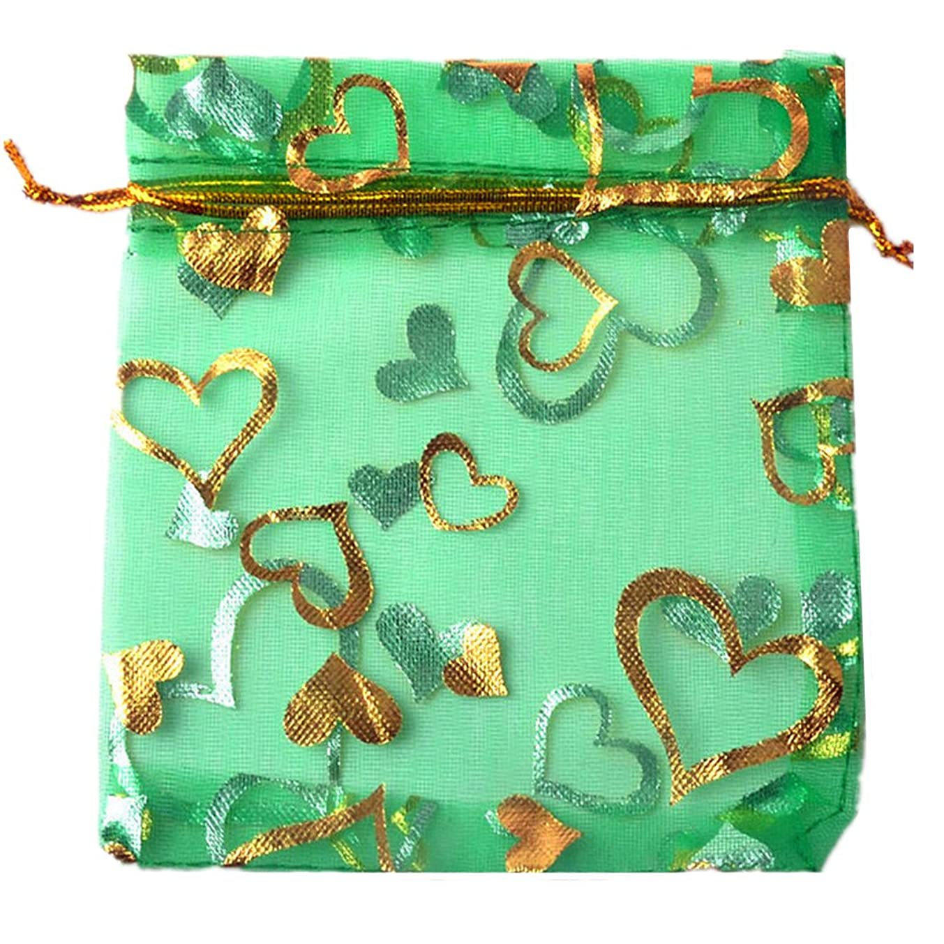 100pcs Organza Wedding Party Gift Bags Heart Pattern Sheer Drawstring Pouches Jewelry Gift Bags Christmas Party Gift Favor Bags (green, 3