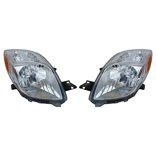 Headlights Depot Replacement for Toyota Yaris Headlight OE Style Replacement Headlamp Driver/Passenger Pair
