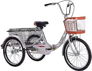 Jlxl Vuxna Tricycles För Män Vikning Trike 20 Tums Trehjuliga Kryssningscyklar Cykel Med Stor Storlek Korg Justerbar Säte ...