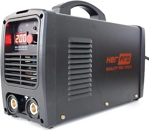 HERPRO Soldador Inverter Profesional IGBT 200 Amperios para soldadura por arco MMA - 60% Factor De Marcha y 3 Placas ...