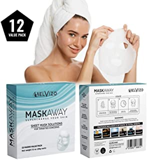 Belvizo Face Sheet Masks |Immediate Hydration, Anti-Aging & Firming with Collagen, Hyaluronic Acid, Peptides, Vitamins| Moisturize, Clear, Firm, Brighten, Balance, Recover. 12 Value Pack