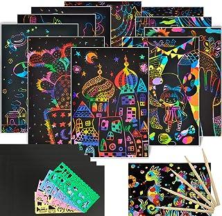 Scratch Art Paper Set for kids 50 Pcs Rainbow Scratch Paper 4 Drawing Stencil Magic Scratch off Art Craft Supplies Kits Do...