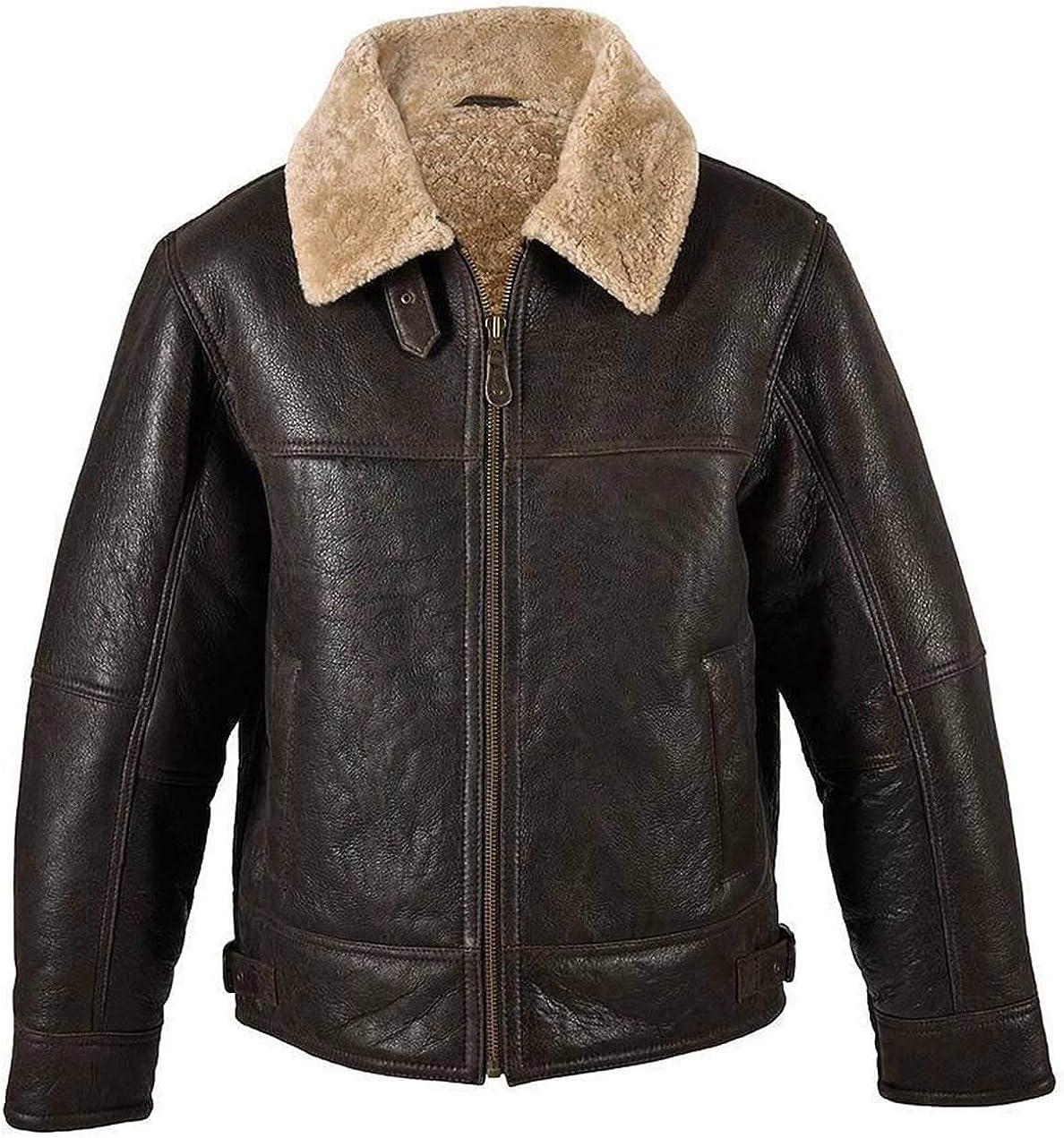 Mens Aviator RAF B3 Bomber Real Shearling Leather Jacket
