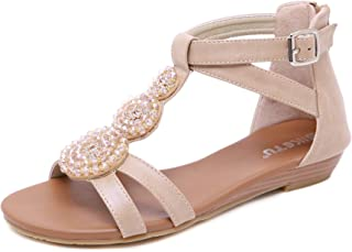 e9d962e4023390 Confortables Sandales Romaines Vintage pour Femmes avec Strass et Zip dans  Le Dos Chaussures Plates Style