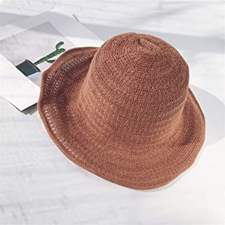 Lei Zhang Collapsible Sun hat Spring and Summer hat Female Japanese Leisure Wild Thin Knit Cap Basin Cap Literary Small Fresh (Color : Coffee, Size : One Size)