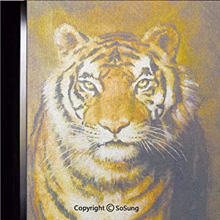 12x24 inch Decorative Static Cling Frosted Privacy Window Film,Oil Painting Style Big Cat Purposeful Eyes Carnivore Bengal Feline of East Glass film for Window Glass Panels,UV Protection,Energy Saving