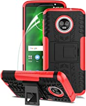 Case for Moto G6 Case W Screen Protector Build-in Kickstand Shockproof TPU&PC Double Layer Double Protection Structure Reinforcement Impact Absorption Antiskip,Red