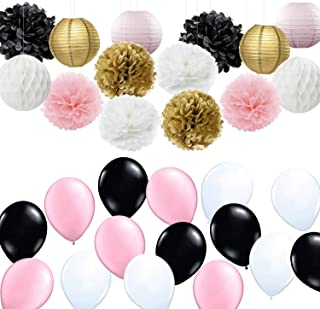 French/Parisian Birthday Party Ideas Pink Gold White Black Paris Party Decorations Tissue Paper Pom Pom Latex Balloons/Paper Lantern for Girls' Birthday Decorations Ooh La La Baby Shower Decorations