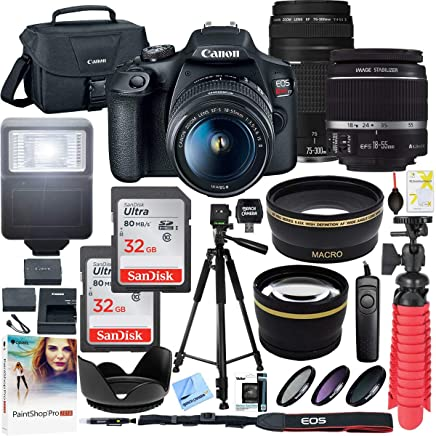 $519 Get Canon T7 EOS Rebel DSLR Camera with EF-S 18-55mm f/3.5-5.6 is II and EF 75-300mm f/4-5.6 III Lens Plus Double Battery Accessory Bundle