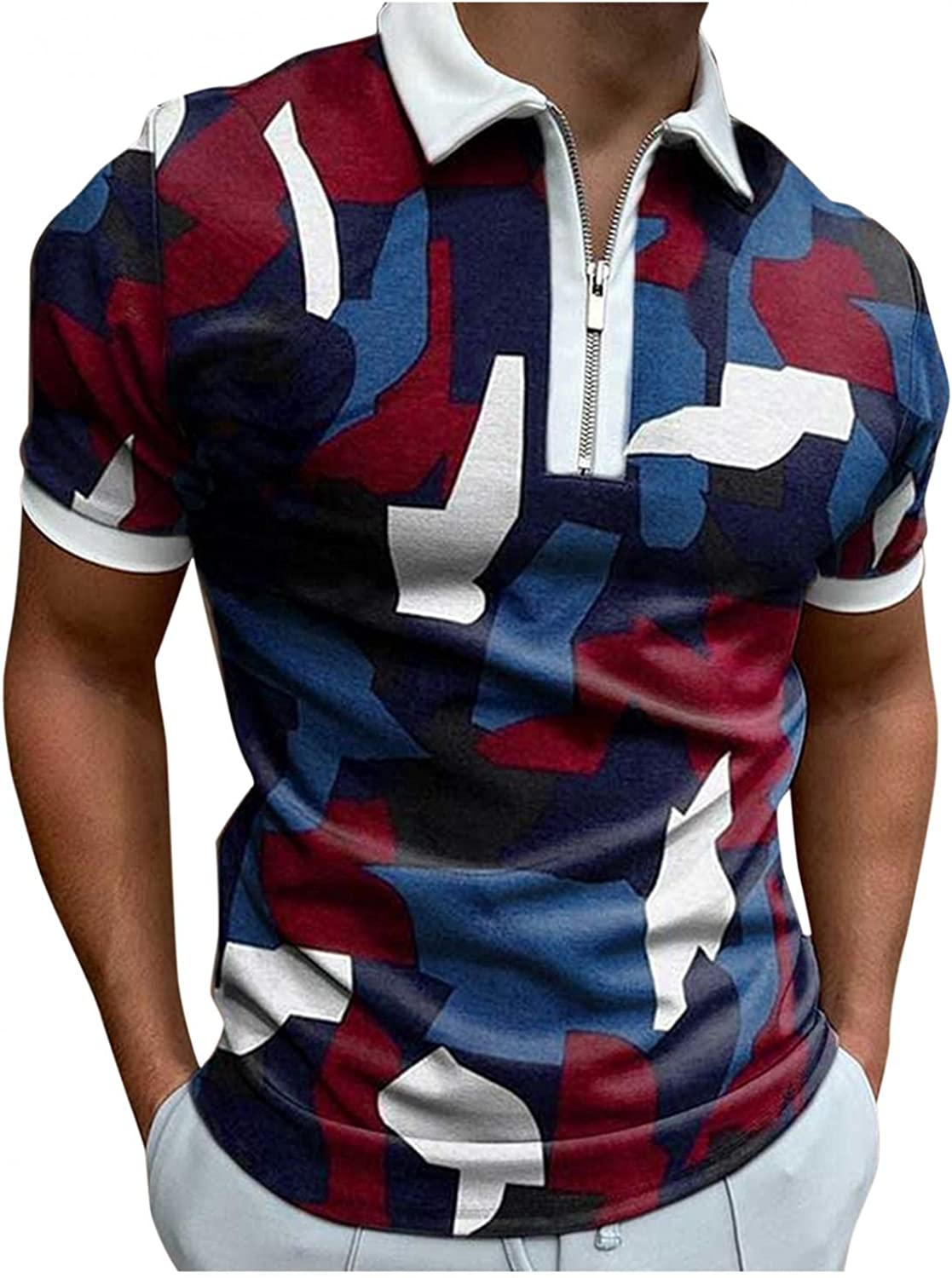 Polo Shirts for Men Short Sleeve Polka Dots Printed Zipper Tees Casual Slim Fit Business Pullover Blouse Soft Tops