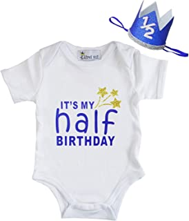 Kirei Sui Baby Boys Blue Half First Birthday White Bodysuit & Crown Headband