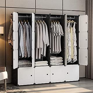 GEORGE&DANIS Portable Wardrobe Closet Plastic Dresser Cube Organizer Storage Carbinet Shelf DIY Furniture, Black, 18 inches Depth, 4x4 Tiers