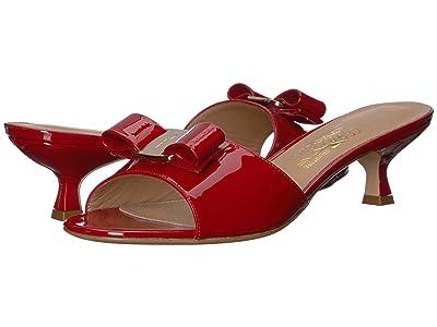 Salvatore Ferragamo Ginostra Kitten Heel (Rosso Patent) Women
