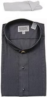 Mens Mandarin No Collar Banded Black Tuxedo Shirt