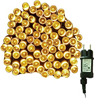 Tuokay 10M 100 LED Luces de Navidad Cadena de Luces Guirnalda de Luces con Adaptador 8 Modos Luces Decorativa Iluminación de Navidad para Arbol de Navidad, Fiesta,Boda