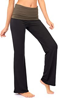 Fold Over Yoga Lounge Stretch Pants Women   Contrasting High Waist Loose Pregnancy Pant Plus (P8)
