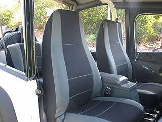 GEARFLAG Neoprene Seat Cover Custom fits Jeep Wrangler YJ 1987-96 Full Set (Front + Rear Set) (Grey/Black YJ)