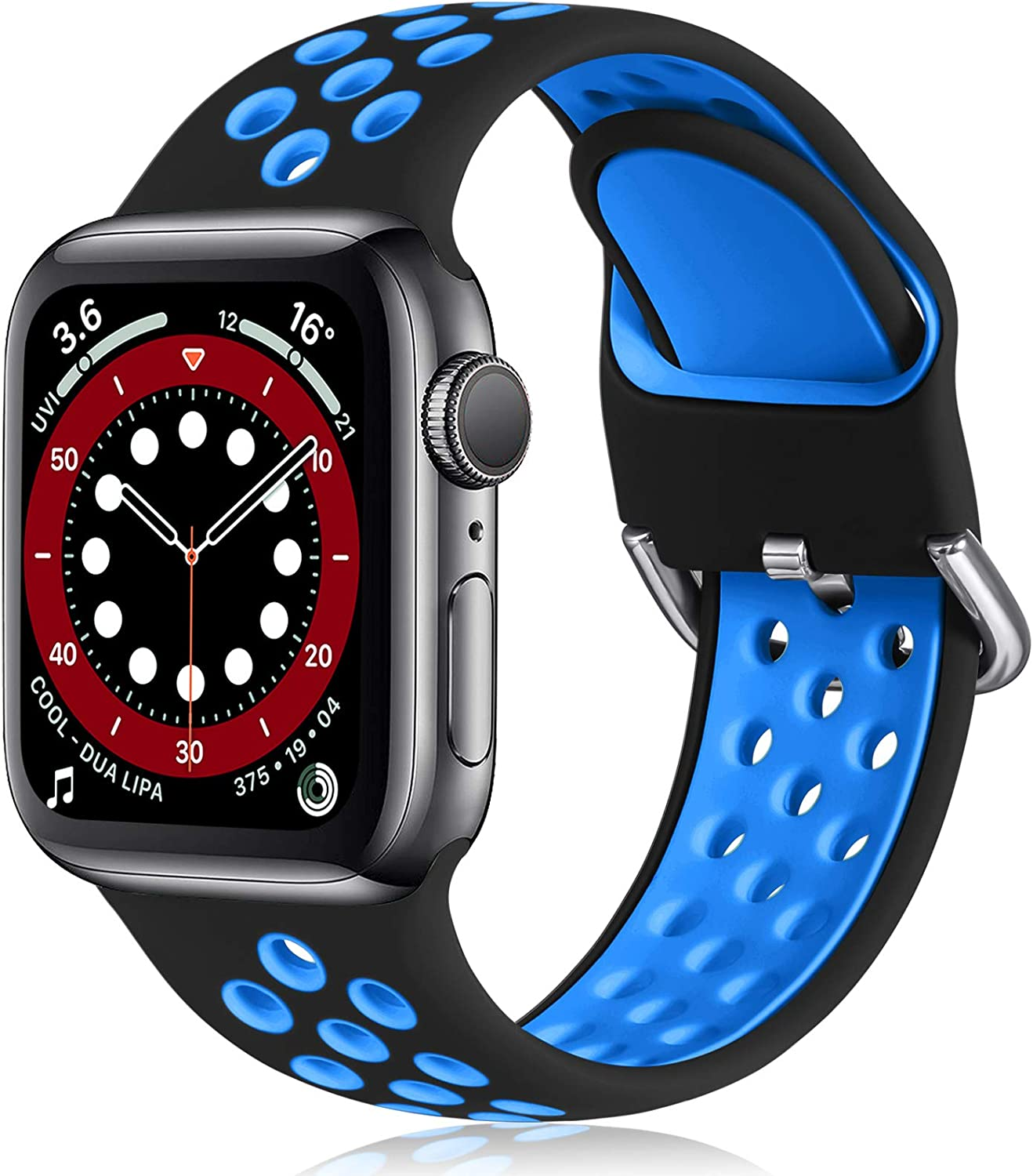Witzon Compatible with Apple Watch Band 38mm 40mm Soft Silicone Waterproof Breathable Replacement Wristband Sport Bands for iWatch Series 1/2/3/4/5/6/SE Women Men, Black Blue, S/M