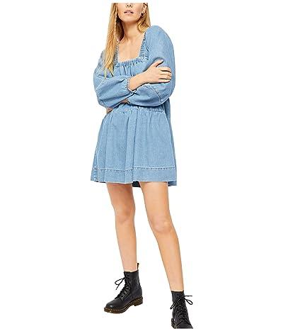 Free People Blue Jean Babydoll Dress (Washed Denim) Women