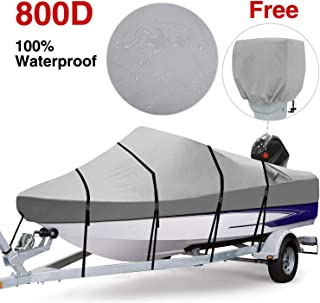 RVMasking Waterproof 800D Polyester Trailerable Full Size Boat Cover Gray for 17