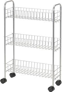 Household Essentials 7011 Slim Line 3-Tier Metal Storage Cart - Satin Silver