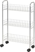 Household Essentials 7011 Slim Line 3-Tier Metal Storage Cart - Satin Silver