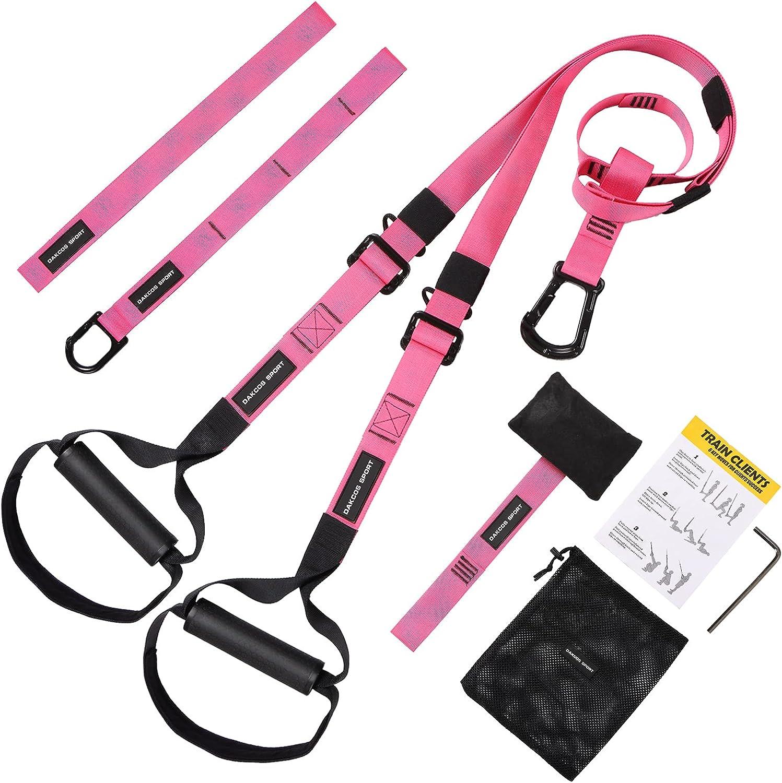 DAKCOS Entrenamiento en Suspensión Conjunto de entrenamiento con correas de suspensión con anclaje en la puerta y correas de entrenamiento ajustables con guía de ejercicios; hasta 500 kg, rosa
