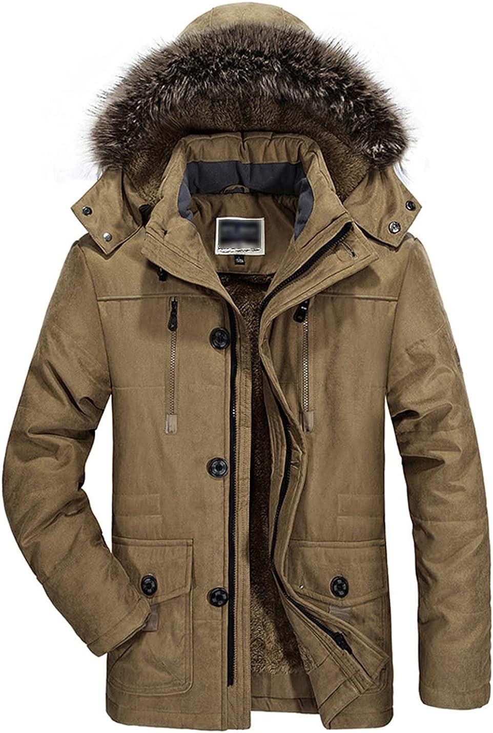 PEHMEA Men's Warm Thicken Hooded Parka Jacket Winter Sherpa Fleece Lined Padded Coat